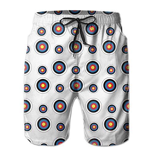 FANTASY SPACE Comfort Beach Cargo Short for Men, Archery Target Colorado Circular Swim Shorts Fast Dry Hip-Pop Half Pants with Drawstring Plus Size Sportwear for Athletic Surf Gym