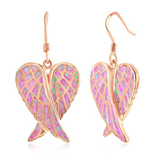 Earrings Silver Angel Tone - Sterling Silver Rose Tone Created Pink Opal Angel Wings Earrings