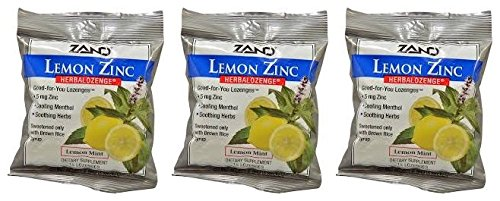 Zand HerbaLozenge Organic Lemon-Zinc (Pack of 3) With Lemon Oil, Menthol, Thyme, Sage Leaf, Peppermint Leaf and Licorice Root, 15 count each.