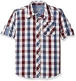 U.S. Polo Assn. Big Boy's Long Sleeve Plaid Check Cotton Sport Shirt, Winter White-SICDB, 18