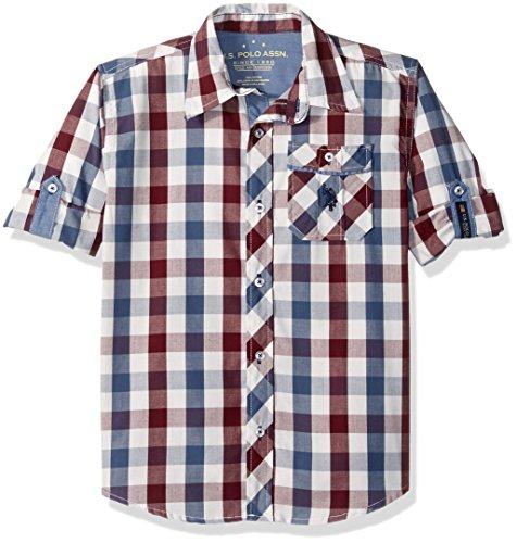 Check Plaid Sport Shirt - U.S. Polo Assn. Big Boy's Long Sleeve Plaid or Check Cotton Sport Shirt, Winter White-SICDB, 14/16