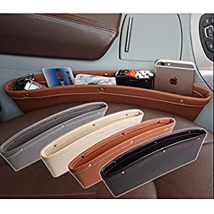 Car Seat PU Leather Console Gap Filler Side Pocket and Catcher Organizer Interior Accessories,Set of 2