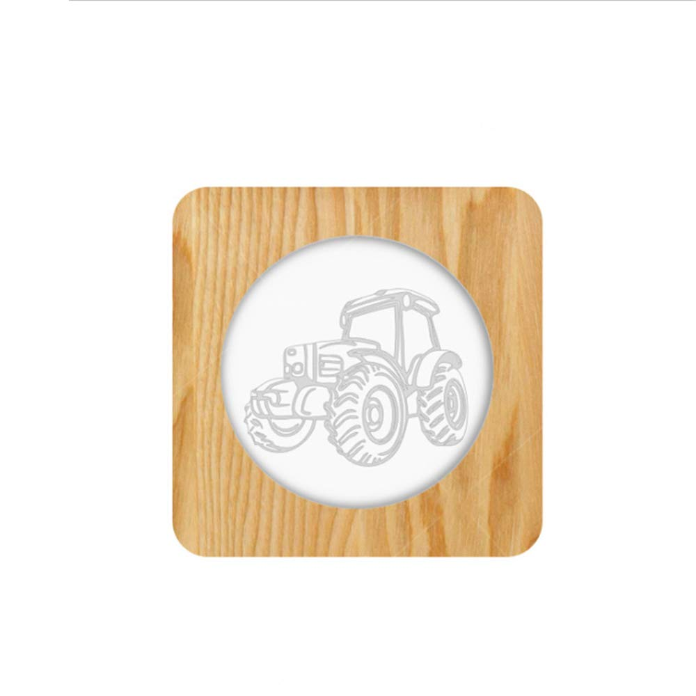 Night Light Kid Led Wooden Button Type 3D Wood Table Lamp USB Warm White, Tractor