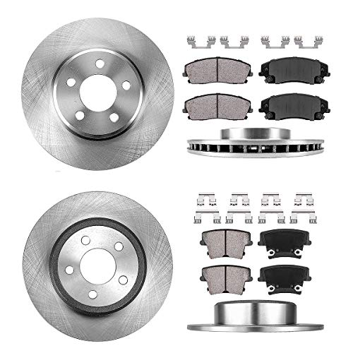 FRONT 320.04 mm + REAR 320 mm Premium OE 5 Lug [4] Rotors + [8] Quiet Low Dust Ceramic Brake Pads + Clips