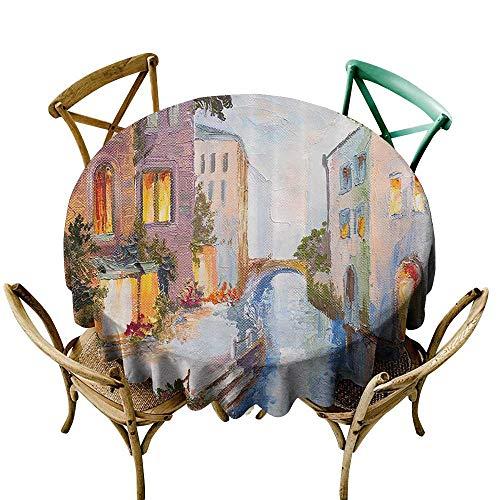 (Custom Tablecloth Lakehouse Decor Collection Historical Cityscape with Vintage Houses Along Water Canal in Venice Italy Oil Painting for Banquet Decoration Dining Table Cover 43 INCH Blue Ecru)