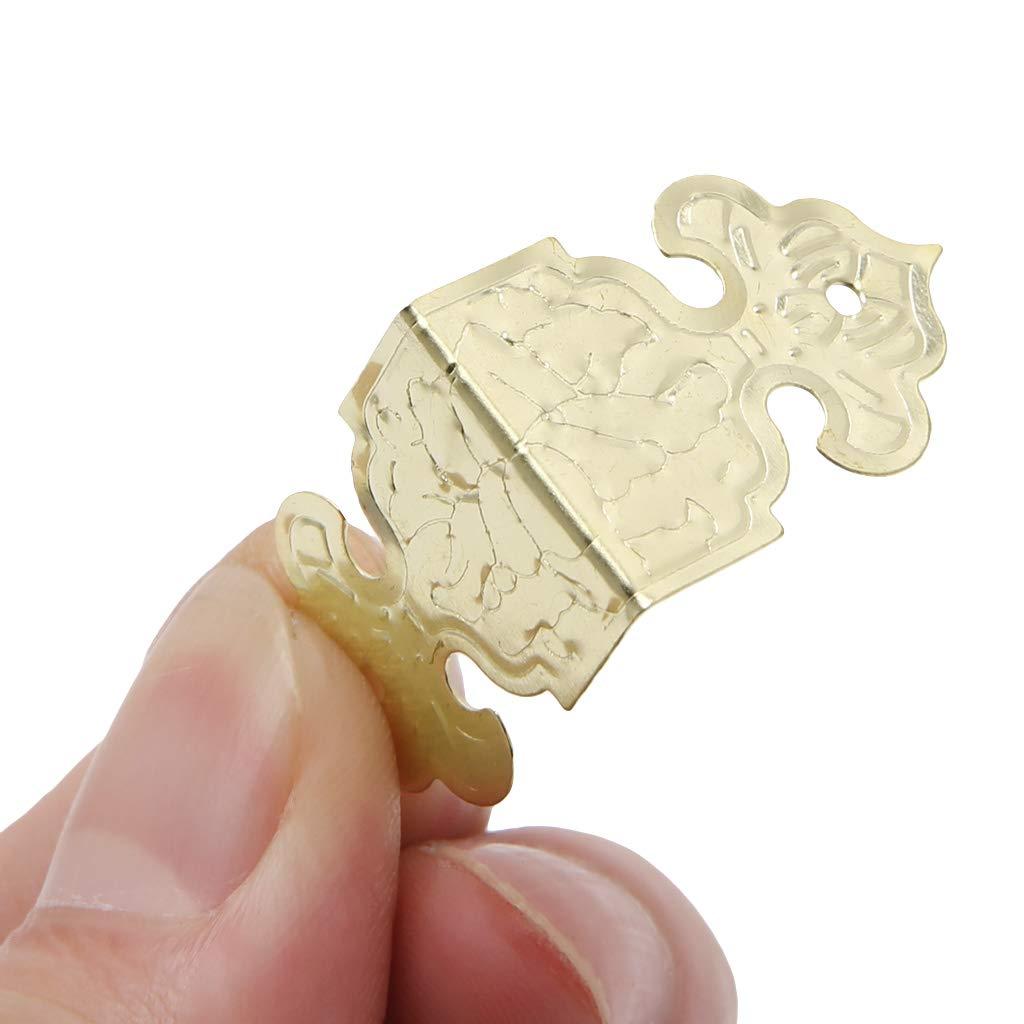 YUYUE21 12pcs Seitenpaket Druckscharnier M/öbel Holzkiste Fu/ß Eckenschutz 25mm-Gold