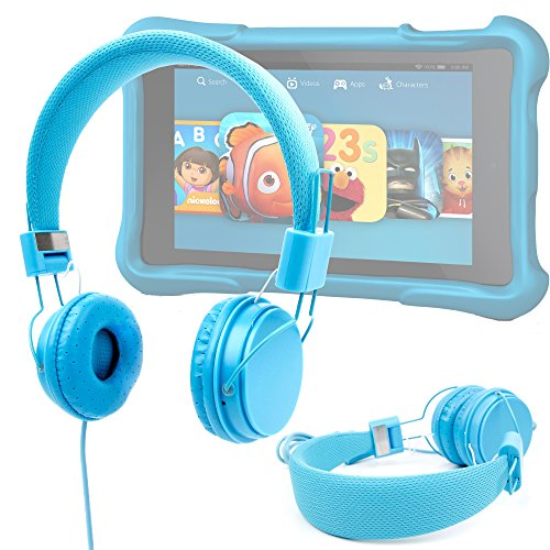 "Price comparison product image Ultra-Stylish Kids Headphones with Microphone in Blue - Compatible with the Amazon Fire HD Kids Edition Tablet 6"" - by DURAGADGET"