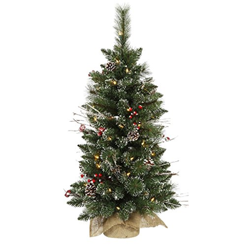 Vickerman B166237LED Snow Tipped Pine and Berry Tree with Berries, Vines, Real Pine Cones, 134 PVC Tips & 50 Dura-Lit Italian LED Mini Lights In Burlap Base, 3' x 17