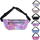 LEADO Holographic Fanny Pack Metallic 80s Fanny Packs for Women and Men, Fashion Waist Pack Adjustable Running Belt, Waterproof Waist Bags Bum Bag for Rave, Festival, Hiking (Purple) Review