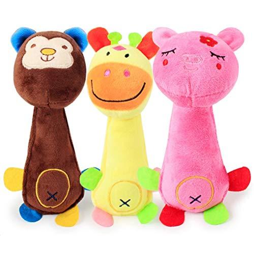 Toy Chew Squeaky Dog Toys, Plush Dog Pet Toy Pup Puppy Doggie Small Medium Dog, Christmas Dog Gift Soft Plush (A)