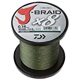Daiwa, J-Braid x4 Braided Line, 3000 Yards, 20 lbs Tested.008' Diameter, Dark Green