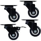 UName Trolley Brake Swivel Caster, Casters Swivel Top Plate 2-Inch Wheel Diameter, Black, 110-lb Load Capacity, 1 BrakeX 3 Activity ,Set of 4,UN208
