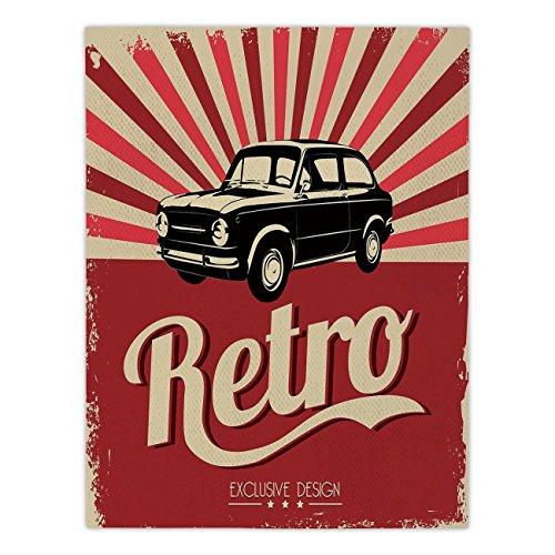 Polyester Rectangular Tablecloth,Cars,Retro Poster Design No