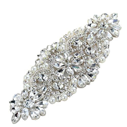(Crystal Rhinestone Applique with Pearls for Bridal Belt Wedding Dress Garters Headpieces)