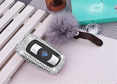 (MissBlue Handmade Crystal Key Fob Case For BMW Remote Key, Aircraft Aluminum Protector Cover Fits BMW 3 5 6 Series M3 M5 X1 X5 X6 Z4 Car Key Fob, Diamond Key Fob Keychain for Women for Girls - Silver)