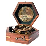 MAH Steampunk for Solid Brass Sundial Compass in Fitted Wooden Box.
