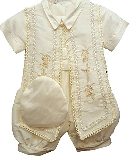 Newdeve Baby Boys Christening Baptism Set Ivory Outfit with Hat -
