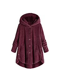 Iuhan Hoodie Coat Women Button Coat Fluffy Tail Tops Hooded Pullover Loose Sweater Blouse