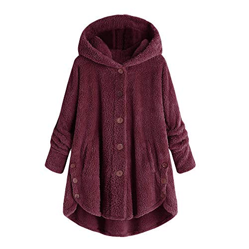 - lotus.flower Womens Ladies Warm Artificial Wool Jacket Winter Outerwear Hooded Pockets Coat (5XL, Wine)