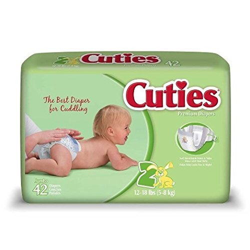 Cuties Baby Diapers - Size 2 12-18 lbs 4pks/42  by Cuties