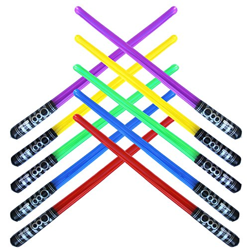 Pack of 10 Inflatable Light Saber Sword Toys - 2 Red, 2 Blue, 2 Green, 2 Purple, 2 Yellow lightsabers - pool, beach, party favors, larp, Halloween costume, give away, Christmas stocking stuffer -