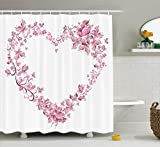 Ambesonne Love Decor Collection, Floral Love Shape Heart of Butterflies Valentine Day Flowers Ornamental Design Print, Polyester Fabric Bathroom Shower Curtain Set with Hooks, Pink Purple White
