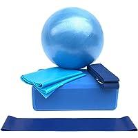 Lixada Equipo de Yoga Conjunto 5 unids Incluye Bola de Yoga Bloques de Yoga Estiramiento Correa Resistencia Banda de Ejercicio Banda