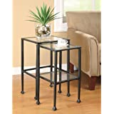 Coaster 901073 2-Piece Nesting Table Set, Glass and Black Metal