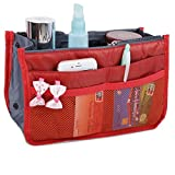 JET-BOND(TM) XB001 Nylon Handbag Insert Pouch Organizer Large Liner Purse with Zippers Handles Multi-function Cosmetic Storage Foldable Tote Inner Bag (Orange)