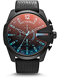 Men's DZ4323 Mega Chief Black Ip Leather Watch