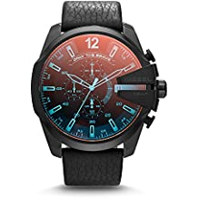 Diesel Men's Mega Chief Quartz Stainless Steel and Leather Chronograph Watch, Color: Black (Model: DZ4323)