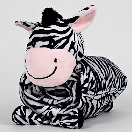"""SNUGGIES Zebra Stuffed Animal Blanket & Cuddly Pillow 2-in-1 Combo – Super Soft and Cuddly Baby Zebra Blanket 37"""" x 30"""" and Zoo Plush Toy 14"""" x 8"""" – Perfect Unisex Baby Shower Gift by Snuggies (Image #3)"""