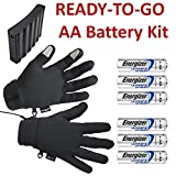 ActiVHeat Touchscreen Weightless Battery Heated Glove Liners - Ready-to-Go Set w/- 6 pcs. Energizer Lithium AA batteries