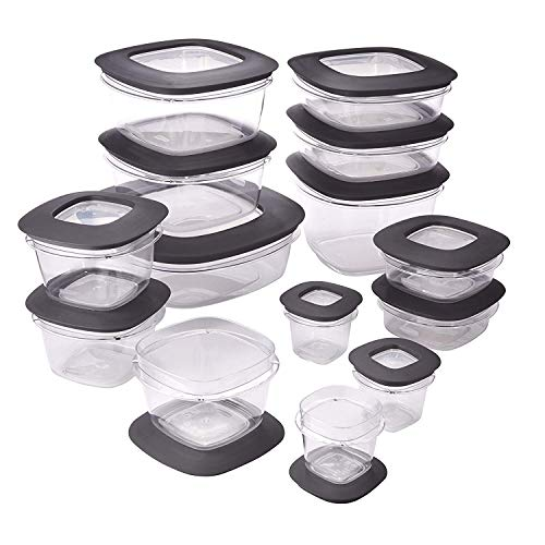 Rubbermaid Premier Easy Find Lids Meal Prep Food Storage Containers, 28-Piece Set, Grey (Certified Refurbished)