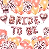 BRT Rose Gold Bride to Be Balloons Decorations Bride to Be Banner Star Heart Foil Balloon Letters Confetti Balloons for Hen Do Nights Bachelor Party Supplies