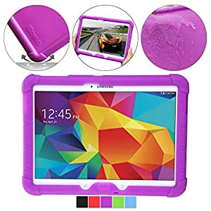 Samsung Galaxy Tab 4 10.1 Case - Poetic Samsung Galaxy Tab 4 10.1 Case [Turtle Skin Series] - [Corner/Bumper Protection] [Grip] [Sound-Amplification] Protective Silicone Case for Samsung Galaxy Tab 4 10.1 Purple (3 Year Manufacturer Warranty From Poetic)