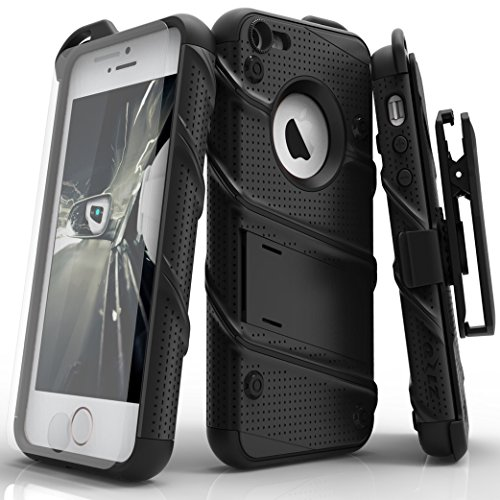 Zizo Military Grade Drop Tested Bolt Series iPhone SE Case for iPhone 5s / SE / 5c with iPhone SE Screen Protector, Kickstand, and Holster Belt Clip (5c Apple Phone)