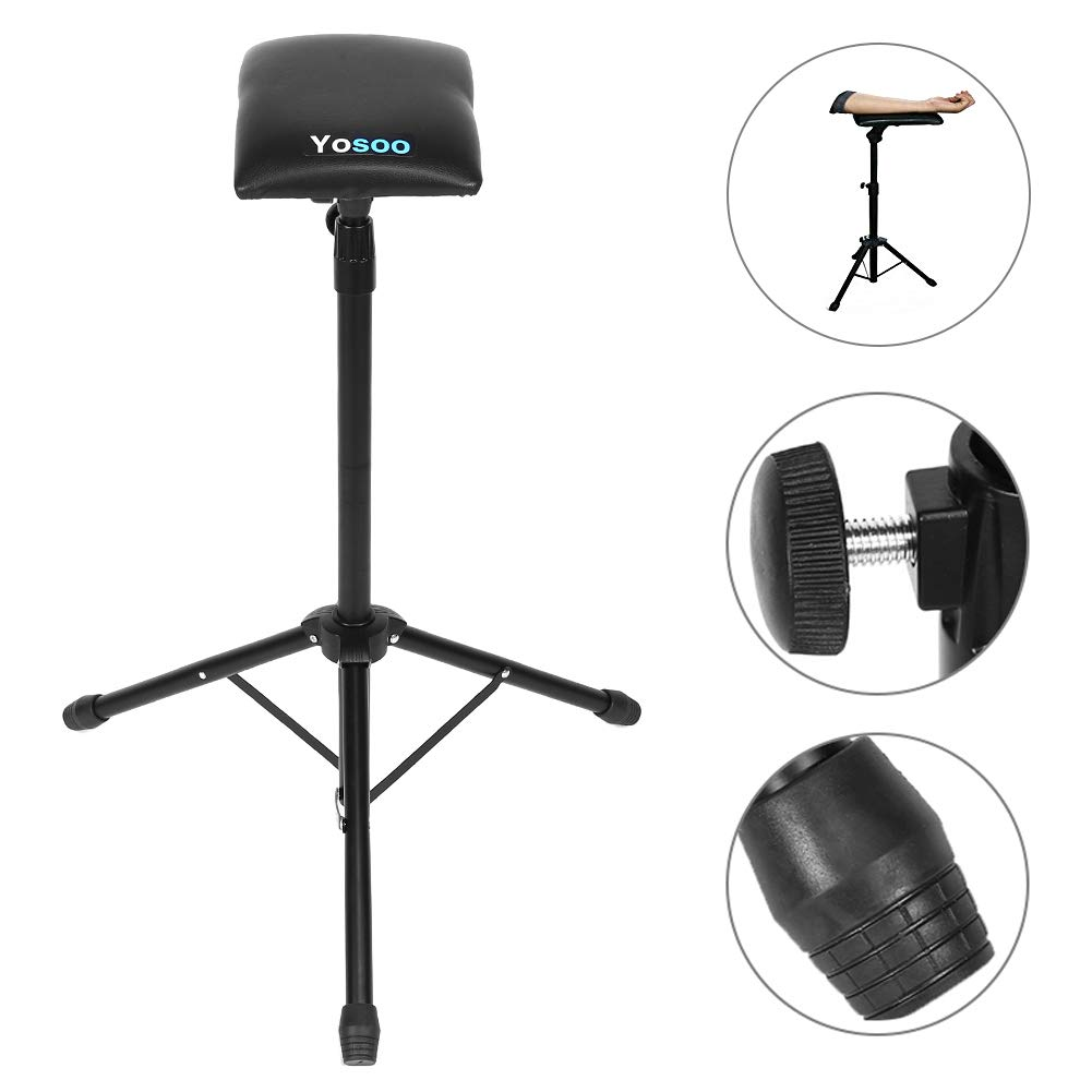 Tattoo Armrest Tripod with Adjustable Height, Soft Sponge Foam Pad Armrest Stand Arm Bar Leg Rest Chair PU Leather Salon Tattoo Tool Yosoo