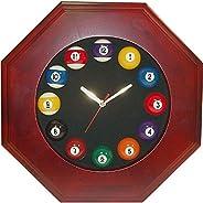 Trademark Global Octagonal Wood Billiards Ball Quartz Clock, Brown