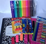 Back to School Supplies Kit for Girls ~ 42 Pieces ~ Pencils, Markers, Scissors, Erasers + More!
