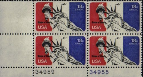 Airmail Plate Block (1974 STATUE OF LIBERTY Airmail #C87 Plate Block of 4 x 18 cents US Postage Stamps)