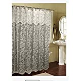 Romance Lace Beige Fabric Shower Curtain With An Attached Valance 70 X 72 Long
