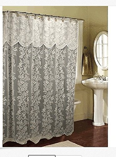 Romance Lace beige Fabric Shower Curtain With An Attached Valance, 70 X 72 Long