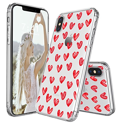MOSNOVO Case for iPhone XS/iPhone X, Love Hearts Pattern Printed Clear Design Transparent Plastic Hard Back Case with Soft TPU Bumper Protective Case Cover for iPhone X/iPhone XS - Hearts Design Phone Cover