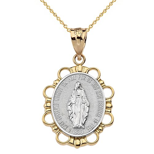10k Two-Tone Gold Miraculous Medal Of Blessed Virgin Mary Pendant Necklace (Large), ()