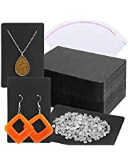 Earring Cards, Anezus Earring Packaging Holder Cards Earring Display Cards with Earring Bags and Earring Backs for Necklace Jewelry Packaging Black 3.5x2.4 Inches