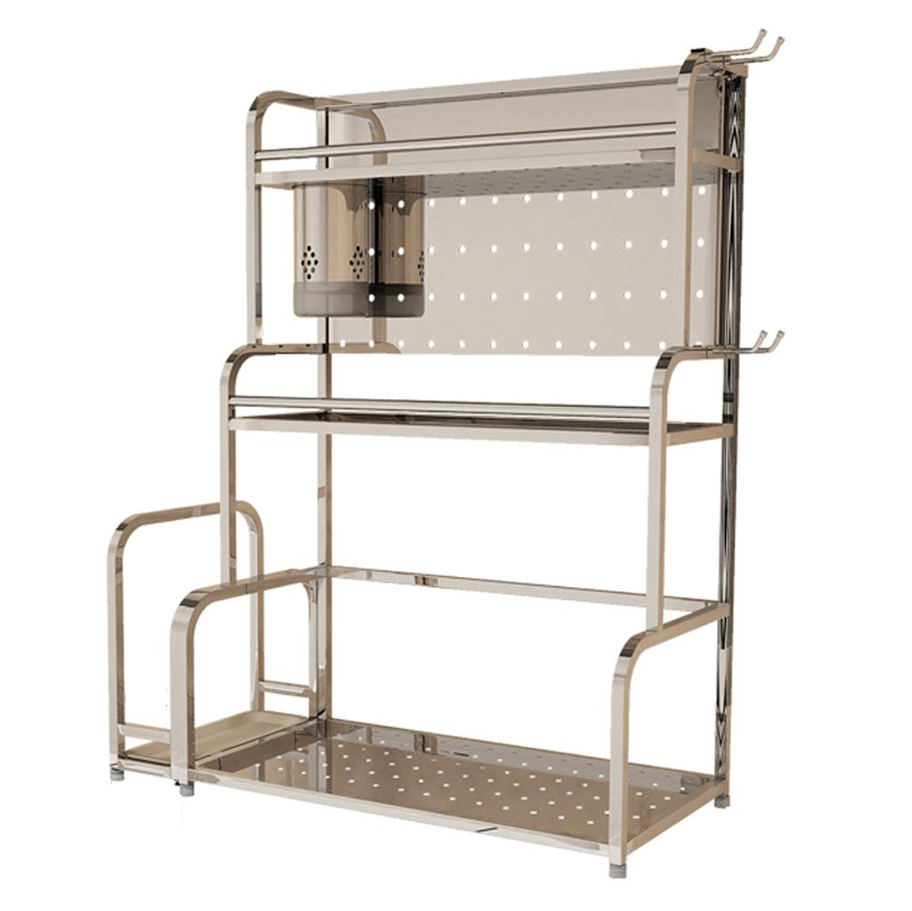 WLNKJ Kitchen Counter Storage Rack Bracket, 3-Layer Multi-Function Seasoning Storage Rack, Stainless Steel Kitchen Spice Rack - Silver,40cm