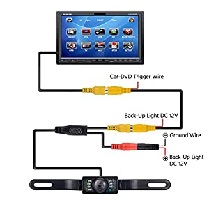 Vehicle Backup Camera, Amoner Car Rear View Reversing Camera, IP67 Waterproof, 170°Wide Viewing Angle License Plate Car Camera with 7 Infrared Night Vision LED