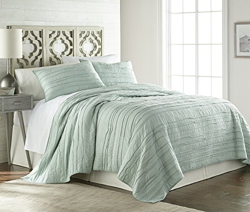 Chezmoi Collection Katy 3-piece Solid Raw Edge 100% Cotton Pre-Washed Soft-Finished Quilt Set (Queen, Seafoam Green) - Edge Quilt