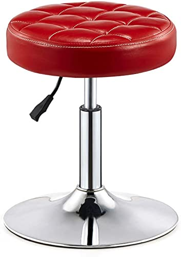 LIQICAI Bar Stool Faux Leather Adjustable Height Swivel Stool Large Base Extremely Comfy, 3 Colors Optional Color Red